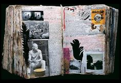 One spread in the amazing 20+ year body of work of Peter Beard.  It is fascinating to see the evolution and progression of his work through the years.  Love his style too.