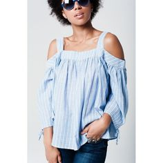 Blue Cold Shoulder Shirt In Stripe