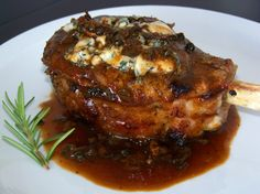 Herb Roasted Veal Chops (with dried mushrooms, veal demi-glace and blue cheese)