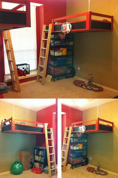 Bunk beds suspended from the ceiling and attached to the studs in the walls.  Opens up all of the floor space for playtime!