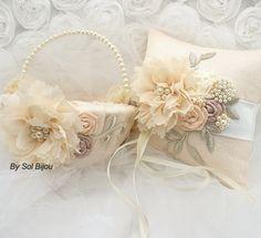 Ring Bearer Pillow Flower Girl Basket Blush Rose Ivory by SolBijou