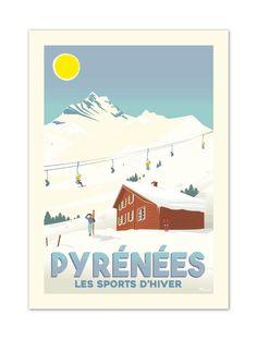 """€25 . Affiche Illustration Originale PYRÉNÉES """"Les Sports d'Hiver"""" . Papier 350g/m² Couché Mat"""