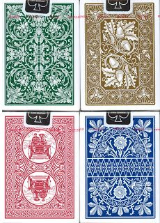 The Bicycle Heritage Playing Cards 4 Deck Set, Vintage Back Series, is the next installment in the reincarnation of out of production vintage back designs. This series includes the following decks: The Lotus Back, Nautic Back, and Automobile No. 2 Back.