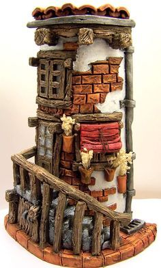 Rustic fairy house hand decorated by tiles Clay Houses, Ceramic Houses, Miniature Houses, Clay Fairy House, Fairy Garden Houses, Clay Projects, Clay Crafts, Clay Fairies, Fantasy House