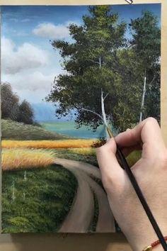 Landscape Drawings, Landscape Art, Landscape Paintings, Art Drawings, Canvas Painting Tutorials, Acrylic Painting Canvas, Road Painting, Art Painting Gallery, Crafts