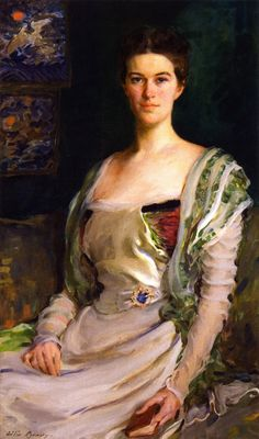 Mrs. Isaac Newton Phelps Stokes (Edith Minturn), 1898.Cecilia Beaux(American, 1855-1942). Oil on canvas.Exquisitely dressed, Edith is seated with a small volume in hand-finger marking the place-just as if she might have been disturbed while reading and was determined to continue at the passage she had last left. This small detail gives some insight into the brilliant mind and the depth of the sitter.