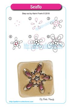Seaflo by Karin Frank - zentangle Zentangle Drawings, Doodles Zentangles, Doodle Drawings, Doodle Art, Doodle Patterns, Line Patterns, Zentangle Patterns, Tangle Doodle, Tangle Art
