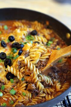 One-Skillet-Enchilada-Pasta..Ill Skip the cheese and use wheat pasta to make it healthier
