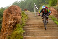 Jayendra riding down the urban DH course in Palpa