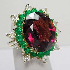 Spinel, Emerald & Diamond Ring by Emeralds Maravellous