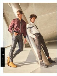 New Garment District: Jhonattan Burjack & Victorien Blagonja for Men's Health UK Old Man Fashion, Young Fashion, Leather Fashion, Mens Fashion, Fashion Outfits, Black Leather Pants, Leather Men, Photo Pose Style, Photo Poses