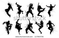 Grunge People Silhouettes. Collection dancing silhouettes in grunge style. - stock vector