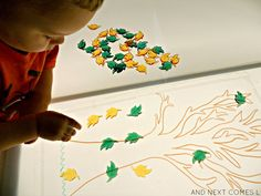 Light table sensory activity for kids inspired by fall leaves from And Next Comes L