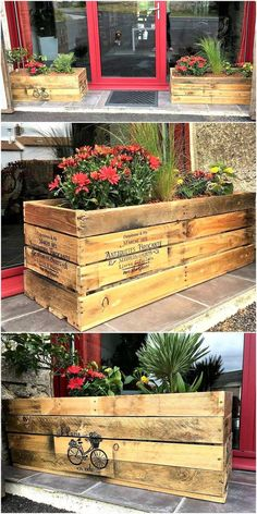 See the entrance yourself and tell isn't it looking great? The repurposed wood pallet planters are making this area attractive, it can be copied for the home entrance with the colorful flowers planted in the planters. The size of the planters can be reduced if the space for placing them is less.