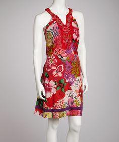 Loving this Mantra Red Floral Split V-Neck Dress on #zulily! #zulilyfinds