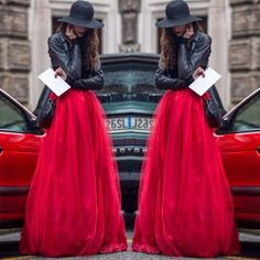 How to Chic: RED TULLE MAXI SKIRT - SUPER CHIC OUTFIT