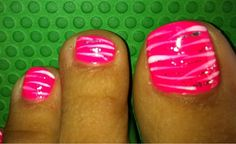 Sparkle Nails - Fremont, CA, United States. Hot pink with white and silver glitter zebra stripes