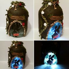 Hand crafted Fairy Lodge Lantern candle holder light jar