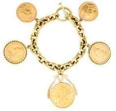 yellow gold coin charm bracelet featuring yellow gold coin and toggle closure. Coin Jewelry, Gold Jewellery, Vintage Gold Rings, Coin Bracelet, Bangles, Bracelets, Gold Coins, Headbands, Charms