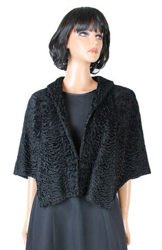 Persian Lamb Cape Vintage 50s Real Fur Black Shawl Wrap Short Cloak S M L Free US Shipping by HepCatClothes on Etsy