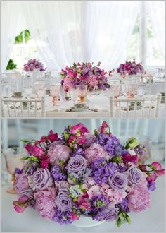 Purple wedding centerpiece idea; Featured photographer: Kent Drake Photography