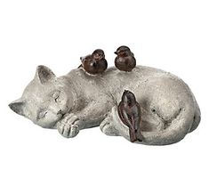 """So snoozin' cute! Add this adorable napping cat and bird statue to your home or garden for a scene that screams """"awwwwwwwww"""". From the Valerie Parr Hill Collection. White Kittens, Grey Cats, Cats And Kittens, Ragdoll Kittens, Bengal Cats, Black Cats, Kitty Cats, Valerie Parr Hill, Bird Statues"""