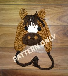 """**This listing is for a pattern only, NOT a finished product** This pattern includes individually written instructions for you to make the Horse Hat in six sizes (age/hat circumference): 3-6 months – 15""""  6-12 months – 16.5  Toddler – 18  Child (3-6) - 19  Child (7-12) – 20  Teen/Adult - 21.5    All my patterns are written in American crochet terminology.    Skill Level: Easy You will require worsted weight (medium/4/aran) yarn and crochet hooks 5.5mm (US I), and 5mm (US H). For yarn, I love…"""