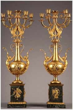 Pair of Late 18th Century Gilt Bronze and Marble Candelabras