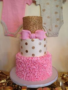 Fantastic cake at a pink and gold baby shower party! See more party ideas at http://CatchMyParty.com!