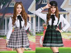 "Korea cute student uniform shirt + short skirt two-piece outfit in green, red, khaki or blue in size S to XXL! Use code ""battytheragdoll"" for 10% off!"
