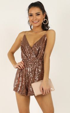 Complete your look with the Feeling Hella Cool Tonight Playsuit In Copper from Showpo! Buy now, wear tomorrow with easy returns available. Casual Dresses For Women, Girls Dresses, Outfits Fiesta, Mid Length Dresses, Formal Dresses, Rompers Women, Women's Rompers, Glamour, Homecoming Dresses