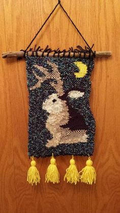 Jackalope Woven wall Hanging - FIBER ARTS Craftster Best of 2014 Winning Project
