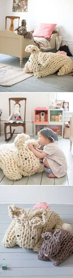 Giant Arm Knit Bunny ~ chunky oversized rabbits knitted without needles, for Easter, nursery, etc. ~ FREE technique tutorial & bunny pattern in PDFs, plus full materials list (or buy pre-packaged kit at link) by Anne Weil of Flax and Twine for Sweet P