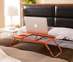 Kings Brand Orange Foldable Adjustable Laptop Stand For Table, Sofa & Bed.Portable and functional, this laptop stand is a must for small spaces or on-the-go.The table top is finished in three different colors with metal legs. Laptop Table, Laptop Desk, Laptop Stand, Laptop Tray, Home Office Desks, Home Office Furniture, Living Room Sets, Bedroom Sets, Sofa Bed Orange