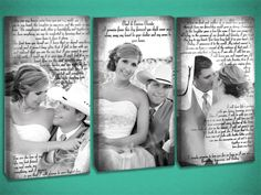 Wedding Vow Wall Art.  So much can be done with your wedding photos!
