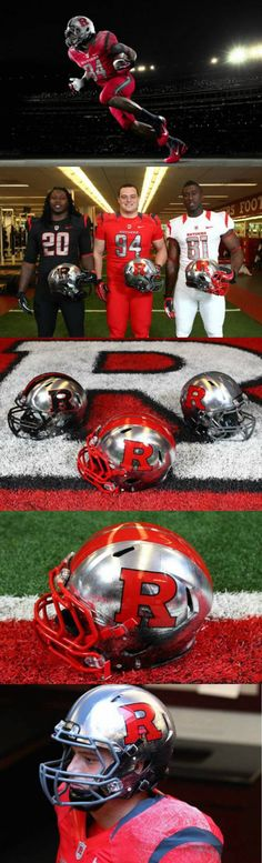 """Rutgers' New Football Uniforms Are Supposed To Look Like Actual Knights In Shining Armor. The new uniforms are the latest using Nike's Pro Combat technology. There are three uniforms including home (red), road (white), and a black version that will be worn during their """"black-out"""" game. There are also three different versions of the shiny helmet. The scratches on the paint of the helmets are actually supposed to represent """"battle scars"""". The """"battle scars"""" can also be found on the shoulders."""