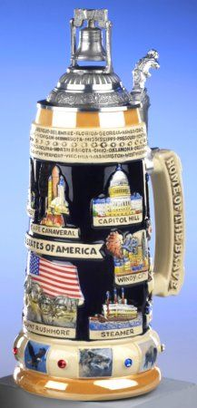 Liberty Bell USA Panorama LE German Beer Stein 1L - Authentic Beer Steins from Germany -