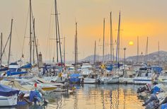 Sunset at a small yacht club just outside Malaga, Spain.