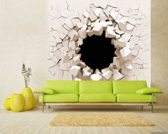 3D Wall Decal ** Shards of the White Wall** / 3D Wall Mural / 3D Wall Sticker / Self-adhesive Wallpaper / Peel and Stick Wallpaper