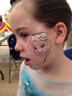 Face Painting - Elsa - Frozen (Cheek art, icicles, disney) www.mymasquerade.co.uk