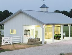 Stable Style: Small Barns Small horse barn with storage Dream Stables, Dream Barn, Horse Stables, Horse Farms, Small Horse Barns, Metal Horse Barns, Morton Building, Building Homes, Horse Shelter