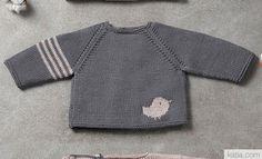 Tijdschrift Baby 82 Herfst / Winter | 15: Baby Trui | Donker grijs / Sepiabruin