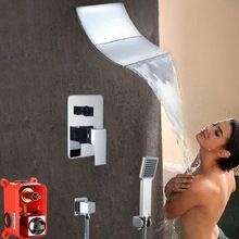 Luxuxchrom Messing Wand Montiert Ventil Dusche set Embedded box doppelfunktion Regen Wasserfall Dusche Wasserhahn mit ABS Handdusche(China (Mainland))