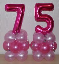 75th BIRTHDAY - AGE 75 - FEMALE -GIRL- FOIL BALLOON DISPLAY - TABLE CENTREPIECE