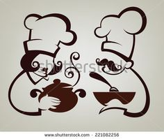 super simple girl chef cooking symbols, food and chef silhouettes, vector collection emblems for your menu - stock vector