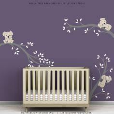 Items similar to Kids Wall Decals Tree Wall Decor Sticker Beige White and Yellow - Koala Tree Branches by LittleLion Studio on Etsy Baby Room Decals, Childrens Wall Decals, Baby Girl Room Decor, Baby Room Colors, Kids Wall Decals, Baby Decor, Boy Room, Grey Wall Stickers, Wall Decor Stickers