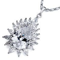 Pugster April Birthstone Clear Crystal Drop Around With Crystal Petals Pendant