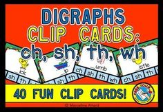 #DISCOUNTED PRICE FOR A LIMITED TIME! #INITIAL #DIGRAPH #CLIP #CARDS   This hands-on fun pack, containing 40 #clip #cards, is an ideal #resource for your #Literacy #Center. Children have to identify the #missing #initial #digraph in a #word and clip the #peg onto the corresponding letters (ch/ sh /th /wh).  All you have to do is print, laminate and cut out the #task #cards. Also don't forget to shuffle the cards and bring some #pegs! #PHONICS #SOUNDS #CH #SH #TH #WH #WORD #WORK