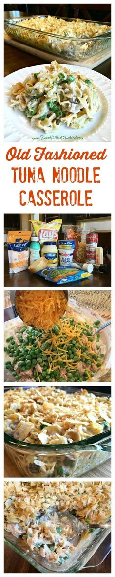 OLD FASHIONED TUNA NOODLE CASSEROLE - Simple to make, so good! Easy to adapt to your taste!! Old School comfort food at its best! Egg noddles in a delicious creamy mushroom soup sauce tossed with tuna, sauteed onions, peas and cheddar cheese, topped with crushed potato chips then baked to perfection...just like grandma used make. Old school comfort food!!