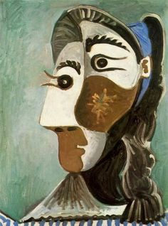 """Pablo Picasso - """"Head of a Woman"""", 1962 Though he had another way of seeing form and color I've yet to find his """"Art"""" nice to look at.  Always distorted.  Oh well."""